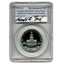 "1976 s PCGS  Silver Proof Bicentennial 50c. ""Artist Reunion""   President Gerald R. Ford  #20 of 150"