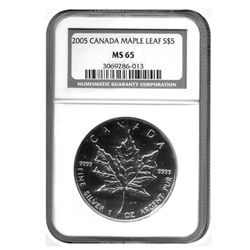 "2005 NGC  MS-65 $5 Canadian Silver Maple   ""Proof Like"""
