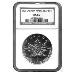 "2007 NGC  MS-66 $5 Canadian Silver Maple   ""Proof Like""   GEM"