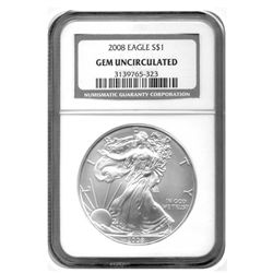 2008 NGC American Silver Eagle    Gem UNC Designation  RARE   pop 8 coin