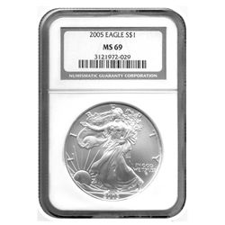 2005 NGC MS-69 American Silver Eagle    GEM