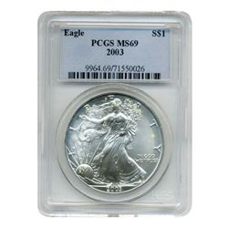 2003 PCGS MS-69 American Silver Eagle            Possible struck thru grease error