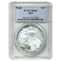 2003 PCGS MS-69 American Silver Eagle   mint error  (mint worker finger/palm print)