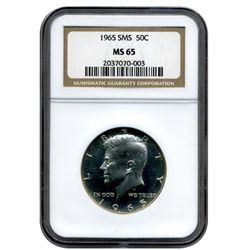 "1965 NGC  MS-65  SMS Kennedy Half Dollar    ""Special Mint Set""   CAMEO"