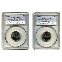 2004 PCGS MS-66 P & D Peace Nickel (two coin set)  Lynch American Hero Edition   VERY RARE