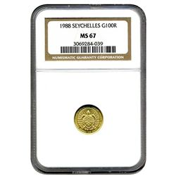 1988 NGC MS-67 SEYCHELLES 100 RUPEES Gold 10th Anniversary Central Bank SUPER RARE Business Strike