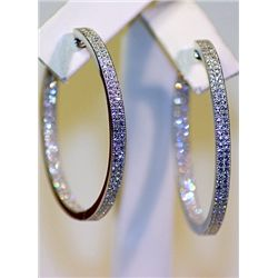Lady's Beautiful Stylish Sterling Silver White Sapphire Hoop Earrings