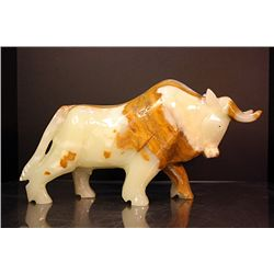 Original Hand Carved Marble Bull by R. Xelano