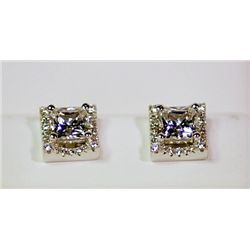 Lady's Antique Style Sterling Silver Square Shape Graduated Garnet Earrings