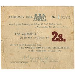 1899: Boer War Mafeking Siege money Two Shillings note issued by Baden-Powell