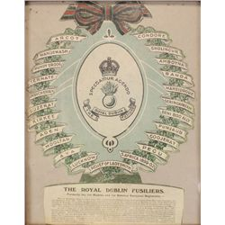 circa 1910: Royal Dublin Fusiliers decorative battle honours crest