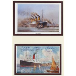 1912 (15 April) RMS Carpathia postcard signed by three Titanic survivors