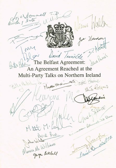 1998: Good Friday Agreement cover sheet with signatures of all ...