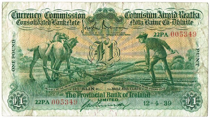 Image 1 Currency Commission Consolidated Banknote Ploughman Provincial Bank Of Ireland One Pound