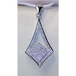 Lady's Very Fancy Unique Antique Style Sterling Silver Diamond Pendant