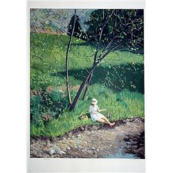 Chirstian Title Original Hand Signed and Numbered Serigraph - Woman at Stream