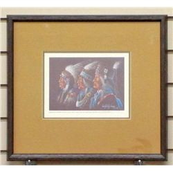 ENOCH KELLY HANEY SIGNED AND NUMBERED PRINT  AMERICAN INDIAN CHIEFS  - FRAMED