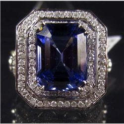 14K WHITE GOLD TANZANITE AND DIAMOND RING - SIZE 7