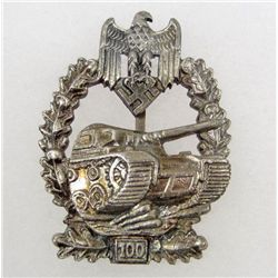 GERMAN NAZI ARMY 100 TANK ASSAULT BADGE