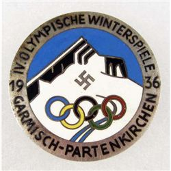 GERMAN NAZI 1936 OLYMPISCHE WINTERSPIELE ENAMELED BADGE
