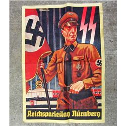 GERMAN NAZI POSTER PROMOTING SS TROOPS AT NURENBERG RALLY