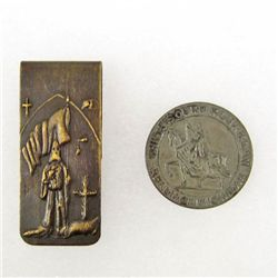LOT OF 2 KU KLUX KLAN ITEMS - COIN AND MONEY CLIP