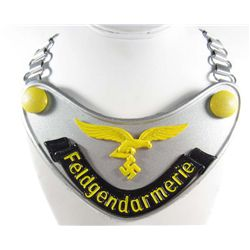 GERMAN NAZI LUFTWAFFE FELDGENDARMERIE GORGET W/ NECK CHAIN