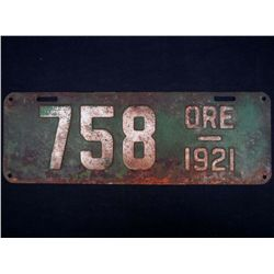 VINTAGE 1921 STATE OF OREGON AUTOMOBILE CAR LICENCE PLATE