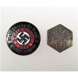 GERMAN NAZI WAFFEN SS ADOLF HITLER 1933 ENAMELED PARTY BADGE