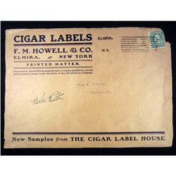 VINTAGE CIGAR LABEL AUTOGRAPHED BY BABE RUTH W/ COA