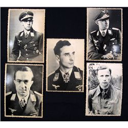 LOT OF 5 GERMAN NAZI LUFTWAFFE KNIGHTS CROSS WINNER PHOTOS
