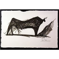 Original Ink Drawing on laid paper - signed  Motherwell