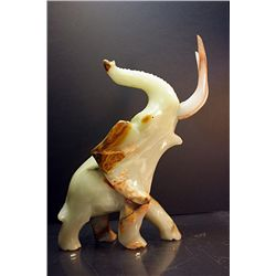 Original Hand Carved Marble  Elephant  by G. Huerta