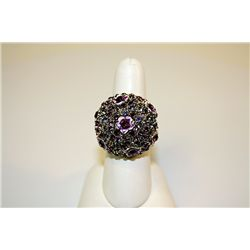 Lady's Unique Style Sterling Amethyst &amp; Tanzanite Ring