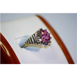 Unisex Antique Style 14 kt Yellow Gold Pink Sapphire & Diamond Ring