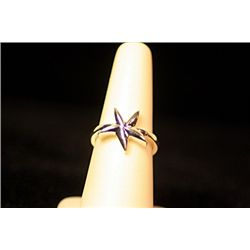 Lady's Stylish Sterling Silver  Star  Design Tiffany Ring