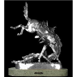 Original Fine Silver Sculpture - Wicked Pony by F. Remington