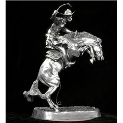 Original Fine Silver Sculpture - Bronco Buster by F. Remington