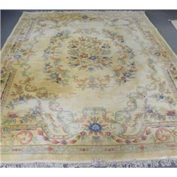 Beige & powder blue center medallion rug