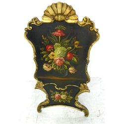 Floral paint decorated firescreen