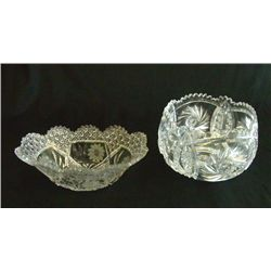 2 crystal cut glass bowls