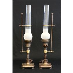 Pair contemporary brass  lamps