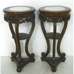 Pair marble top pedestals