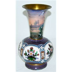 Art Nouveau enamel vase artist signed & dated