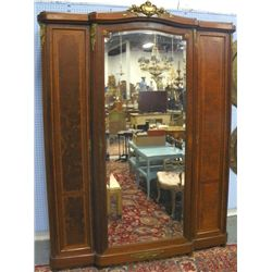 French bronze mounted 3 mirrored door armoire