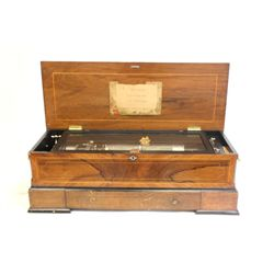 Cylinder music box in rosewood inlaid case