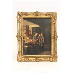 19th c. gilt framed oil painting by A. Grusdin