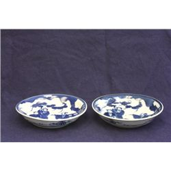 Pair blue & white dishes