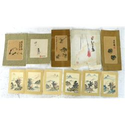 11 unframed Chinese watercolors on paper