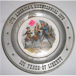 1976 *AMERICAN BICENTENNIAL - 200 YEARS OF LIBERTY* Plate Stamped on back *AMERICANA ART CHINA CO. S